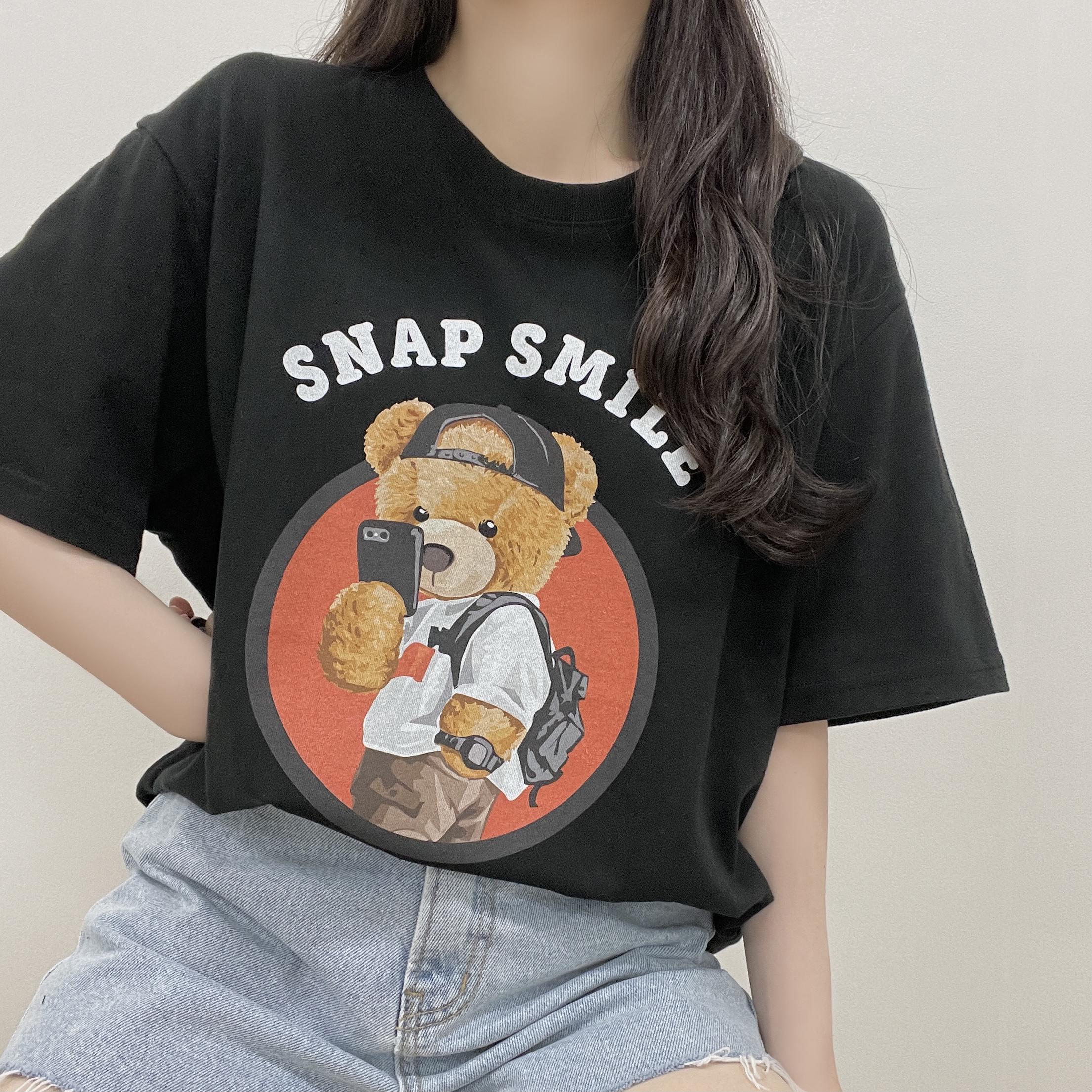 Cuteness, click bear over-fit short-sleeved T-shirt