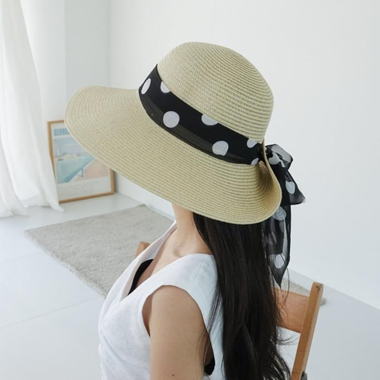 2colors dot branch ribbon floppy hat