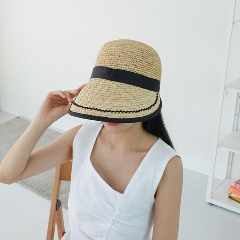 2colors rattan ribbon color wide cap