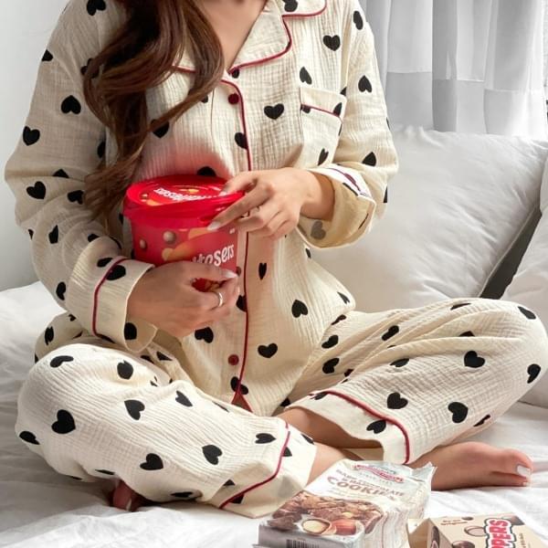 Yoru Cotton Heart Pattern Pajama Pajama Set