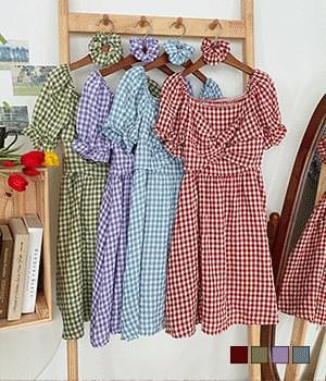 Gopchang String Set Check Off Shoulder Mini Dress