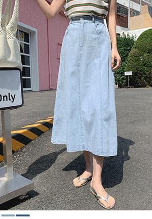 Cool A-line denim skirt