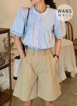 bl4888 Juni China Collar Short Sleeve Blouse