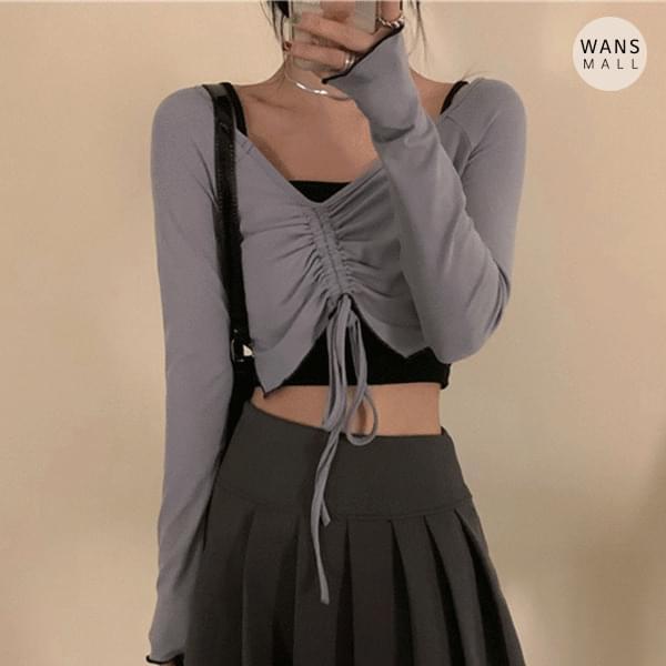 tt4892 pro shirring cropped T-shirt 長袖上衣