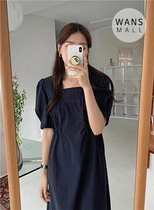 op4902 Four-Waist Shirring Long Dress