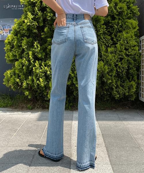 return slit slit long jeans