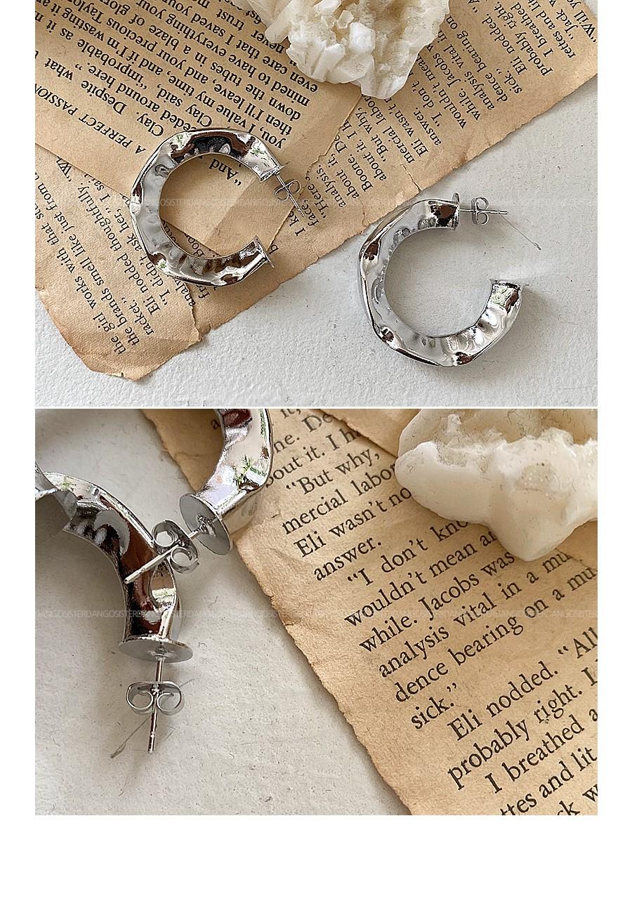 Rough Silver Ring Earrings
