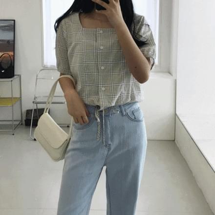 Nana check string blouse