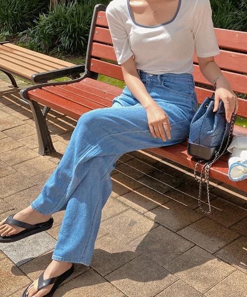 Stitched Square Flip-Flops - Cowhide