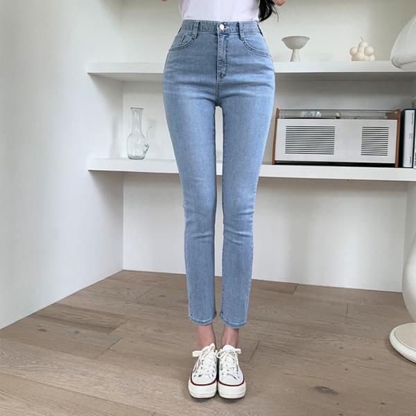 Preferred banhayi Light Blue Faded denim slim Date 牛仔褲