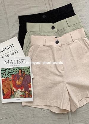 Linmude High Waist Linen Short Pants