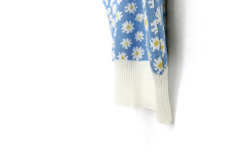 甜美小花短袖針織上衣