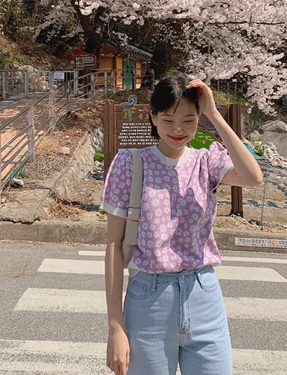 Lizzy Flower Short Sleeve Knitwear
