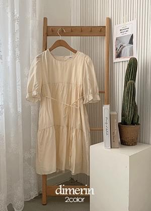 Dimerin puff shirring ribbon mini Dress
