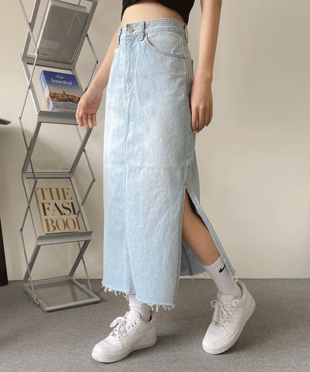 New poteon Light Blue teuim long denim skirt