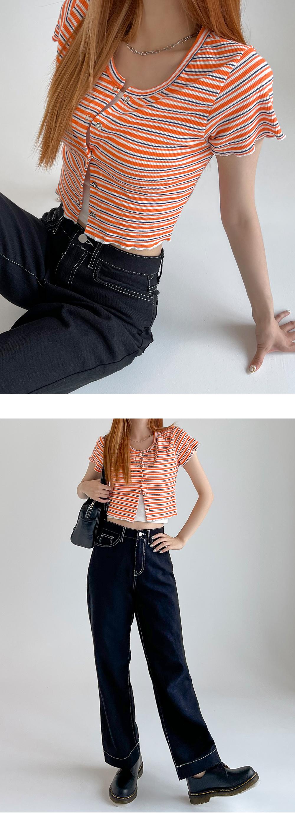 橫條紋釦子短版上衣