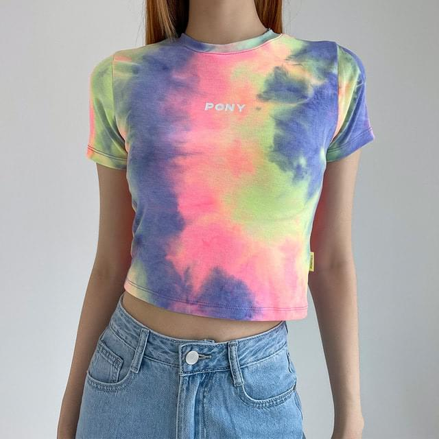 ponyac print cropped short sleeve T-shirt 短袖上衣