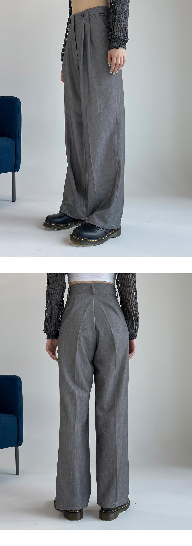 Tempado pintuck button wide slacks