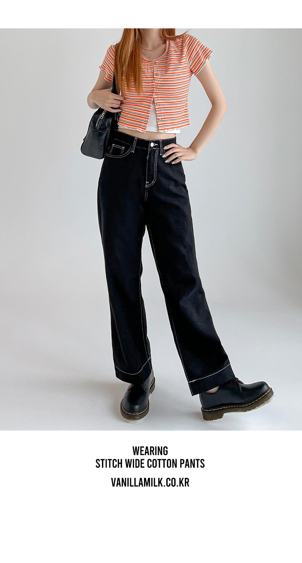 Wearing stitch wide cotton pants