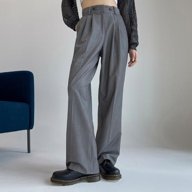 Tempado pintuck button wide slacks 長褲