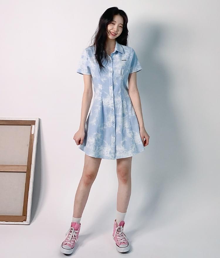 HIDESky Blue Tie-Dye Button-Front Dress