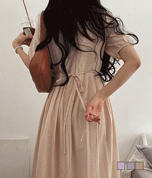 Polka Linen Pleated Short Sleeve Long Dress