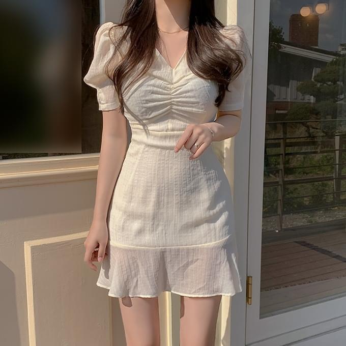 Cinderella V-Neck shirring puff pintuck short sleeve ruffle mini Dress