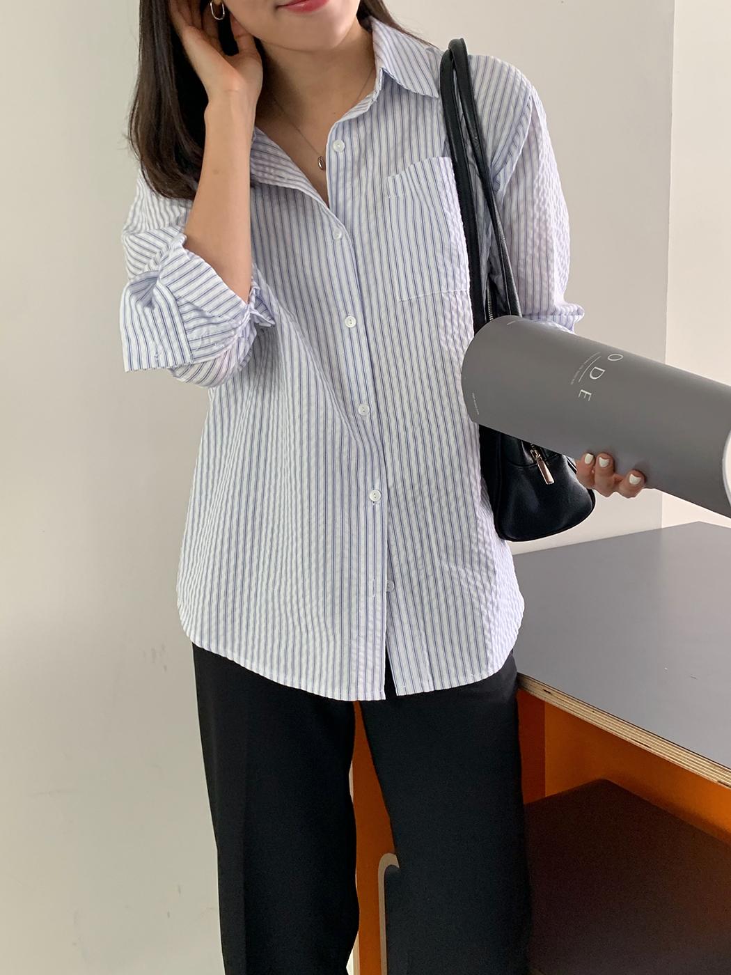 Moble seersucker striped shirt
