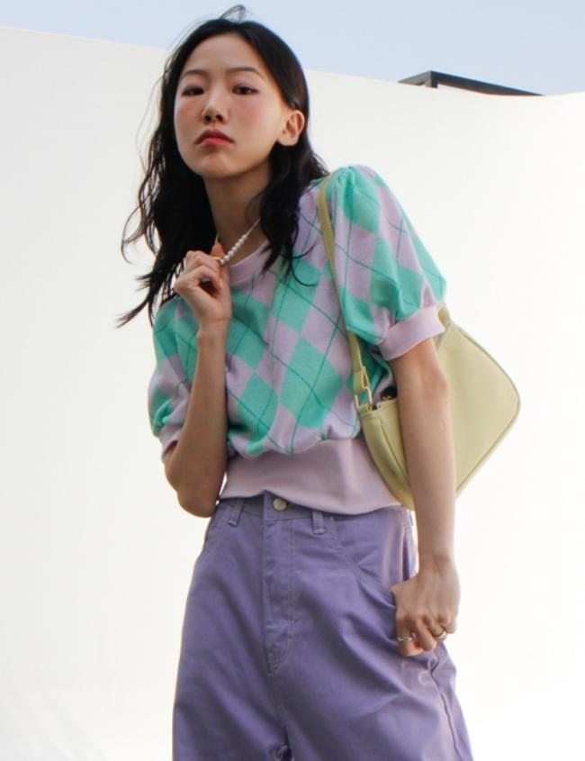 Argyle Short Sleeve Knitwear