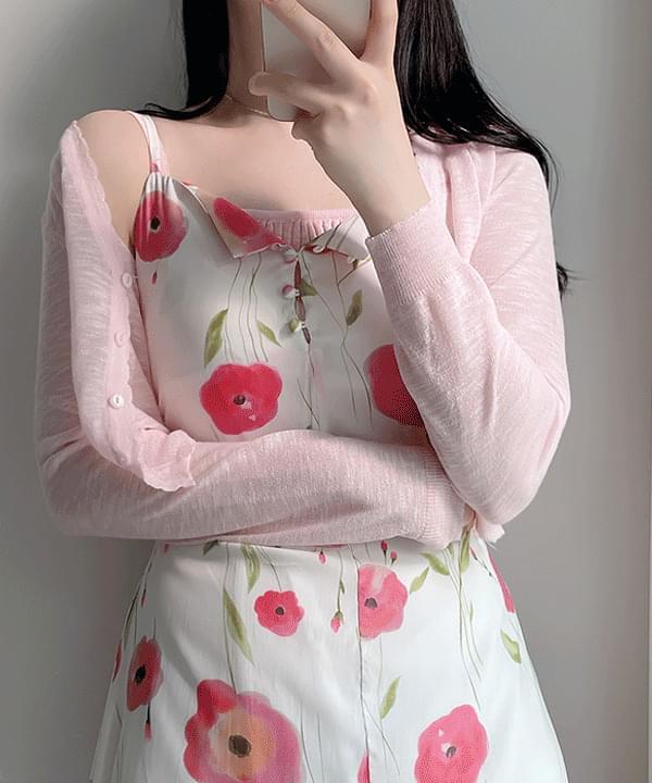 Juicy Crop Sleeveless + Knitwear Cardigan set 5color