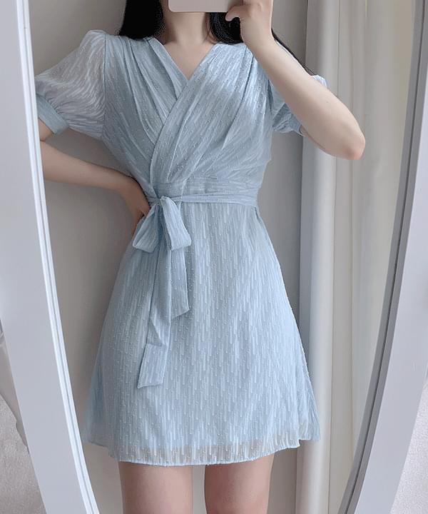 Rainy Pintuck Wrap Dress 3color