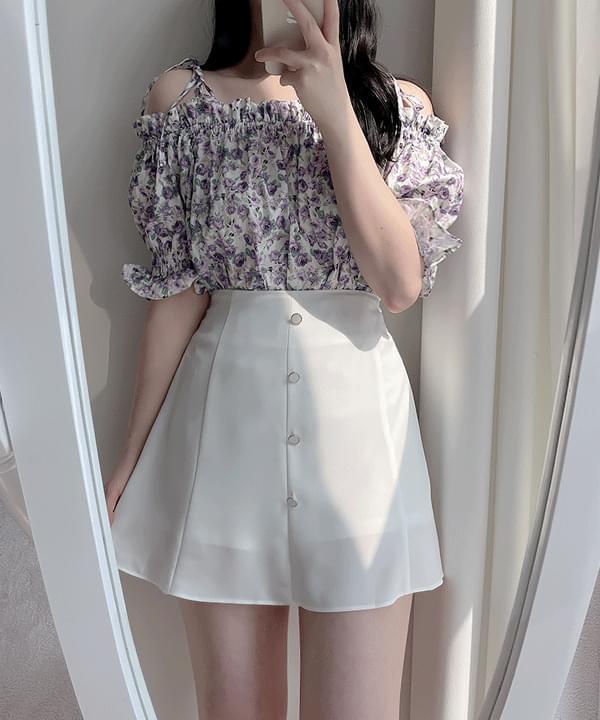 Bird Flare Side Mini Skirt 3color