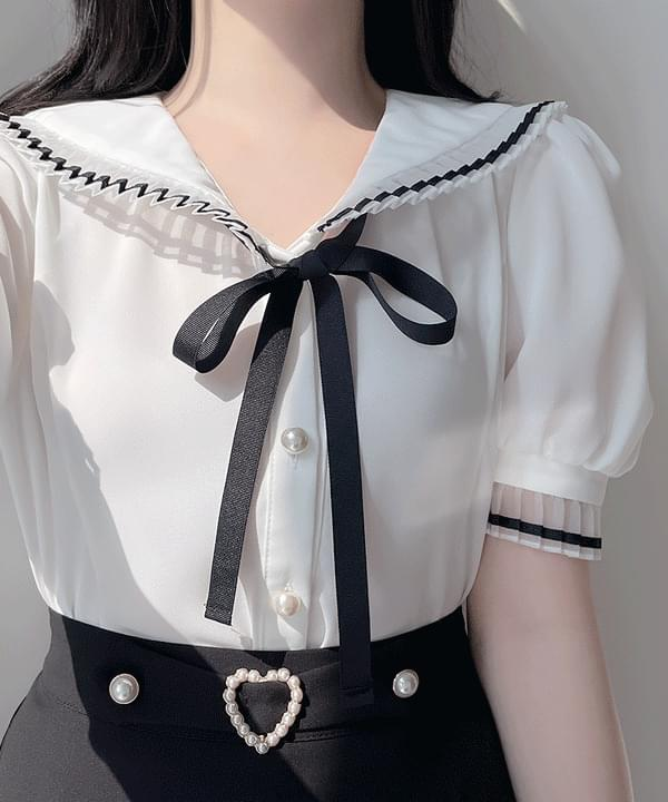 ironed ribbon blouse 2color