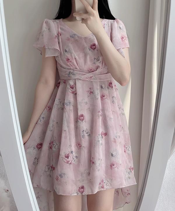 Laura floral unbalance Dress 2color