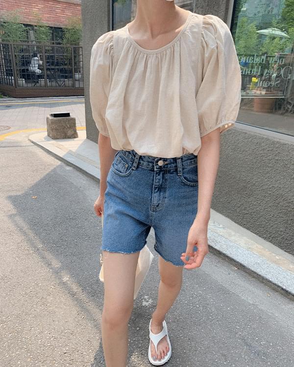 raff round shirring blouse