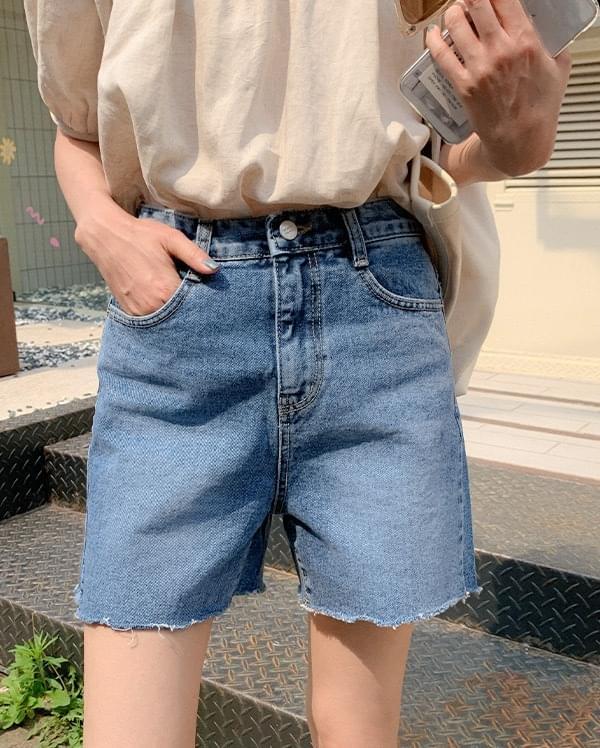 Root Cut Half Denim Pants