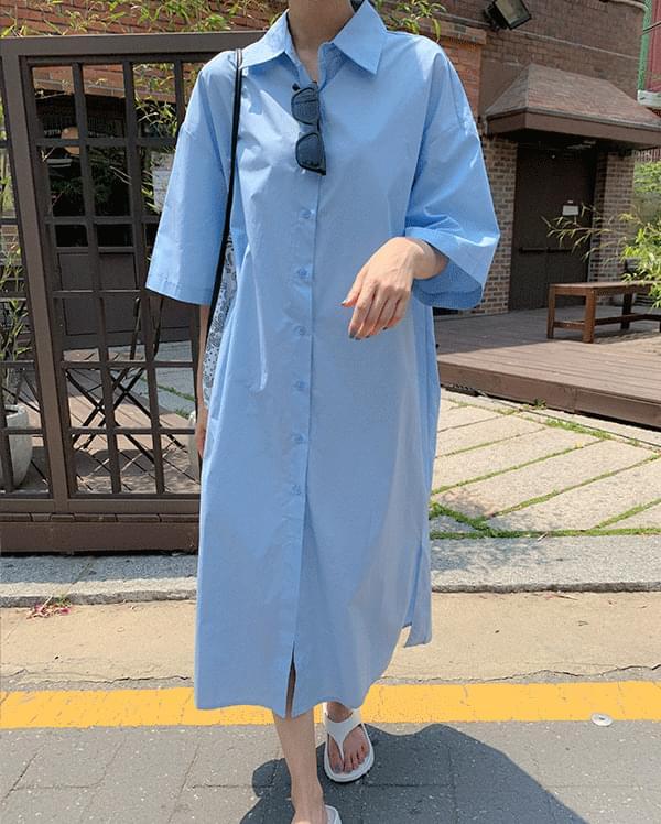 #made some over short sleeve long shirt Dress