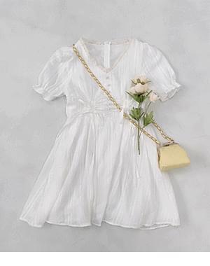 Butti Shirring Puff Short Sleeve Dress