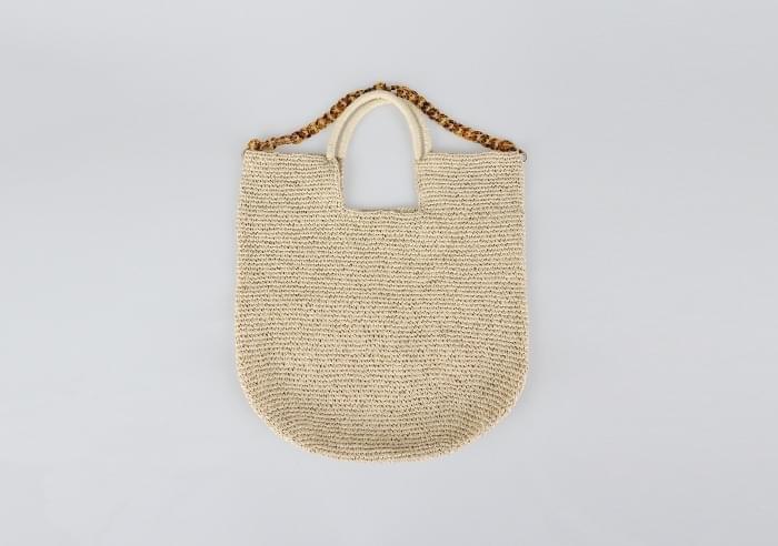 big raffia chain bag