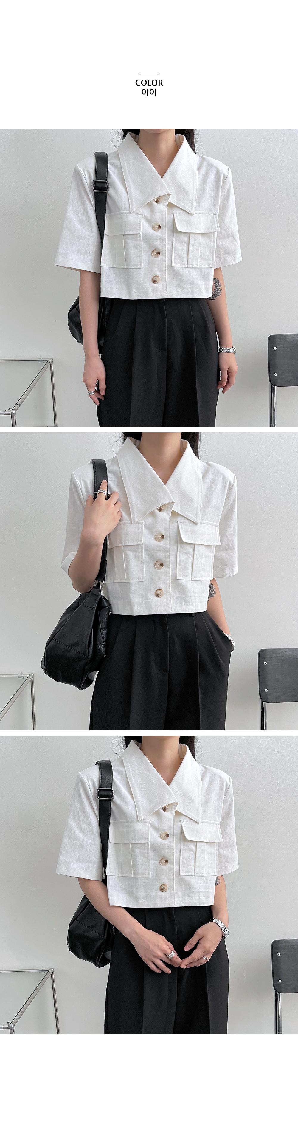 Modern Two Pocket Short Sleeve Crop Jacket