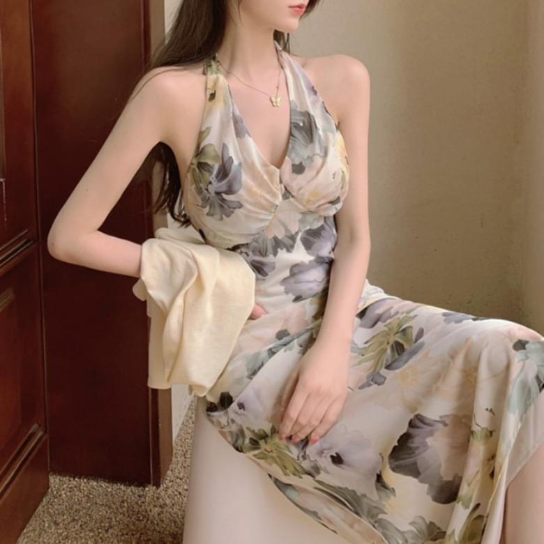Romantic Lou Halterneck Flower Dress