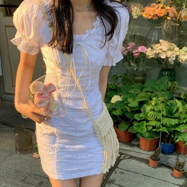 ruffle ribbon string sleeve shirring Dress