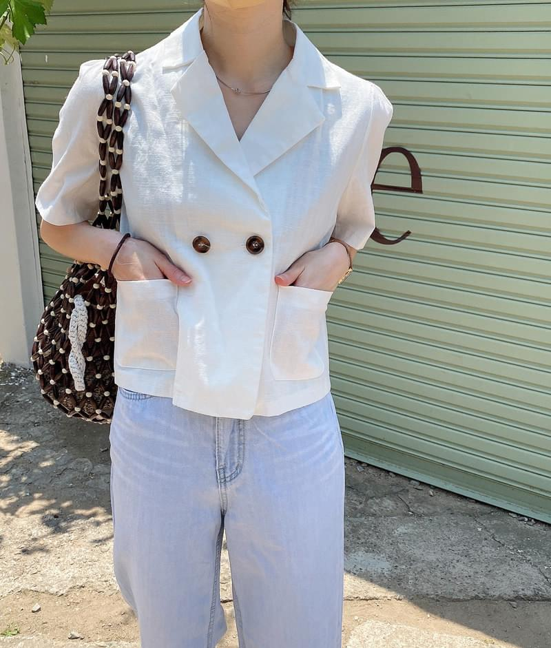 twin collar cropped jacket