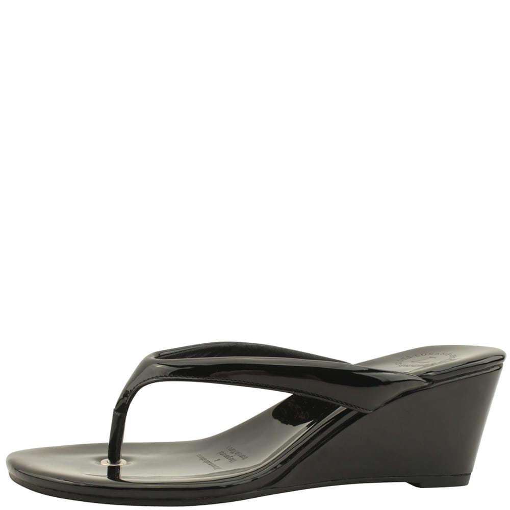 Flip Flop Middle Wedge Heel Mules Slippers Black