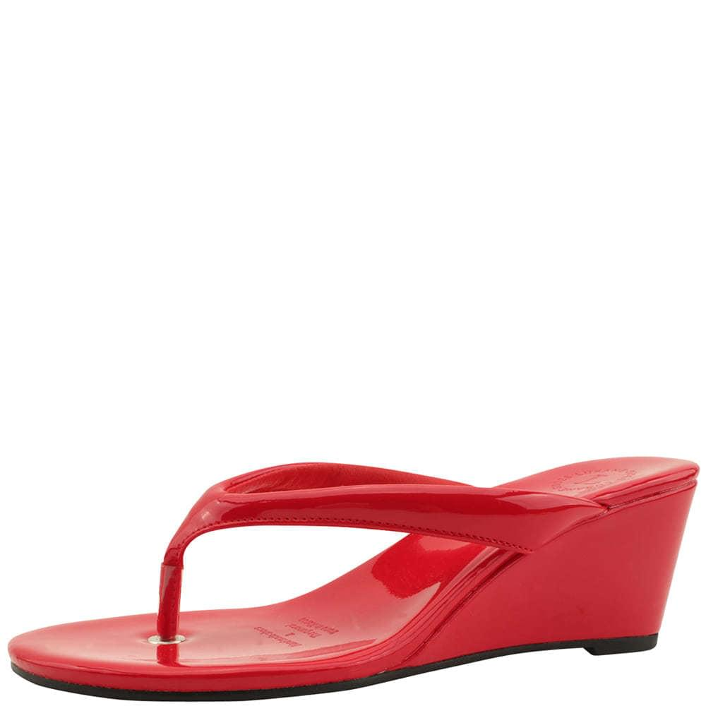 Flip Flop Middle Wedge Heel Mules Slippers Red