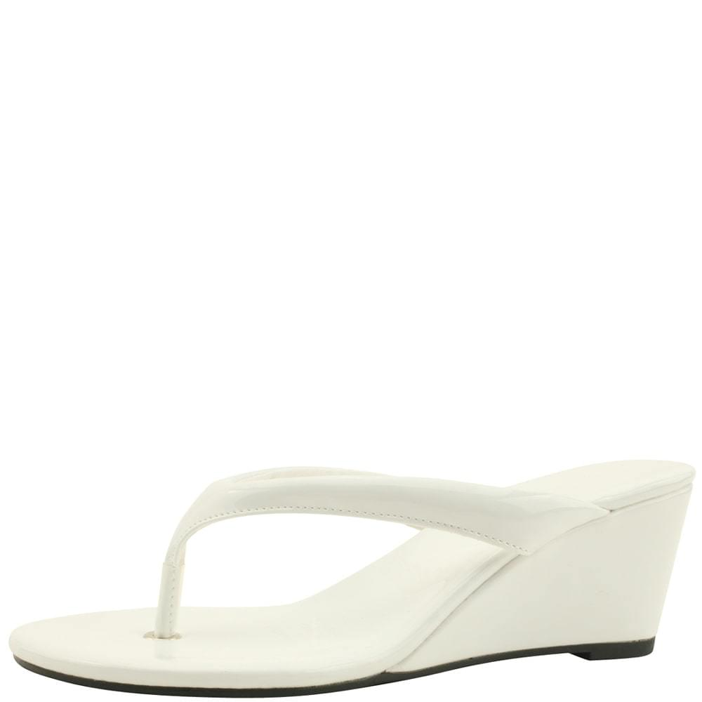 Flip Flop Middle Wedge Heel Mules Slippers White