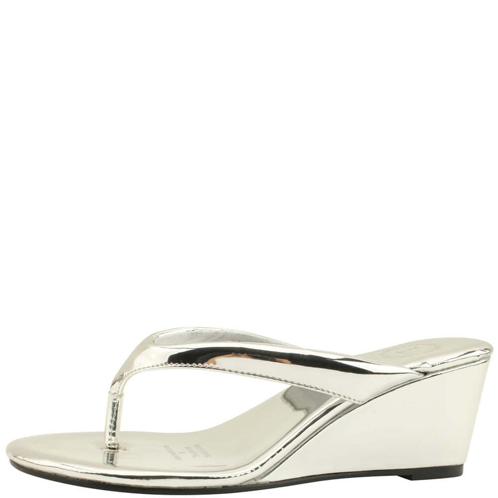 Flip Flop Middle Wedge Heel Mules Slippers Silver