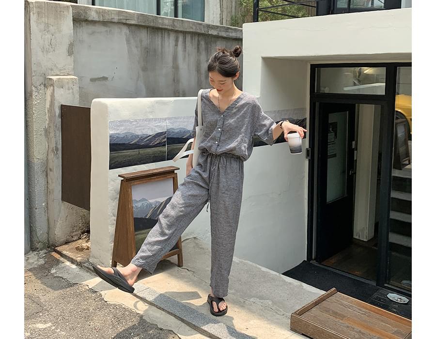 Mini Check Linen String Jumpsuit 長褲