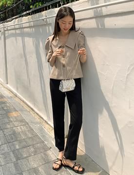 slim crop linen slacks