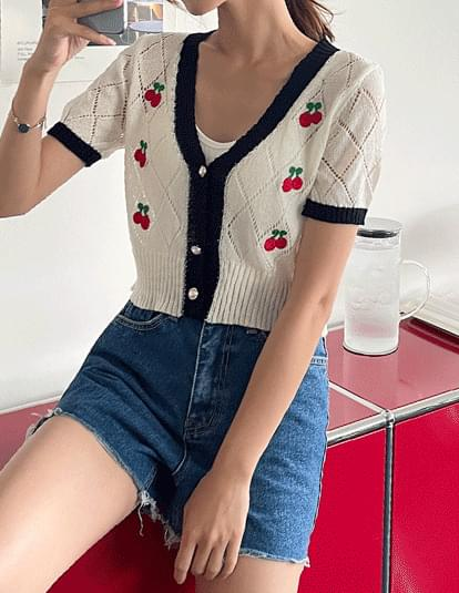 cherry color cropped cardigan